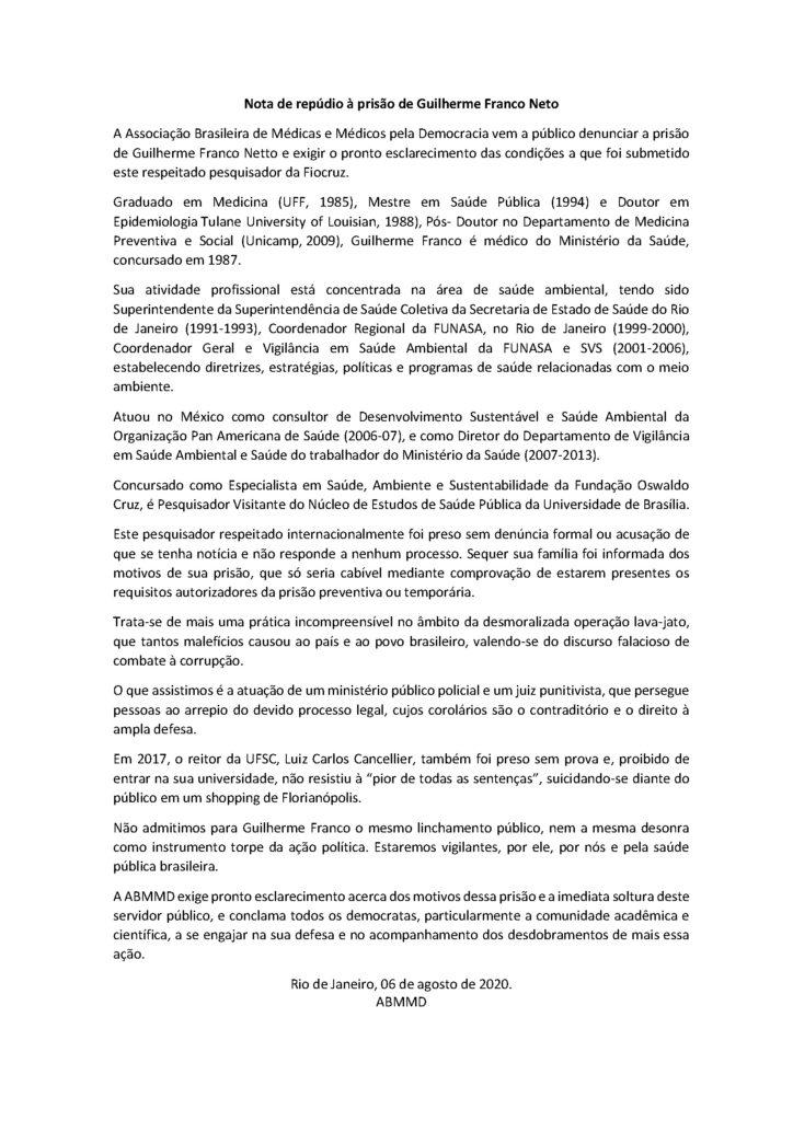 ABMMD - Nota de repúdio à prisão de Guilherme Franco Neto
